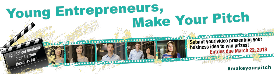 Young Entrepreneurs, Make Your Pitch.  High School Students: Pitch Us Your Business Idea! Submit your video presenting your business idea to win prizes! Entries due March 29, 2017 #makeyourpitch